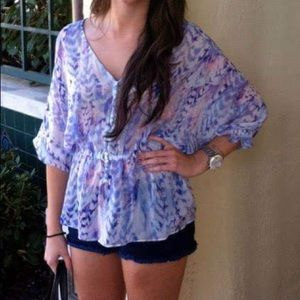 Purple and blue cinched waist top